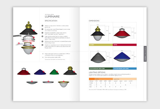 Product report design, product marketing design, print brochure design, lighting report design