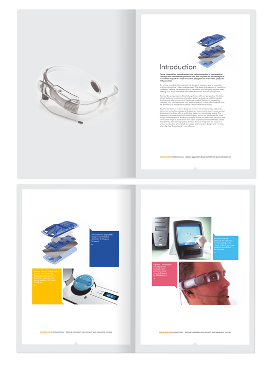 Advertising and promotional brochure design graphic for Medical design consultancy